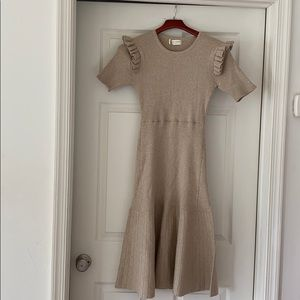 NWOT Rachel Parcel tan ruffle sweater dress